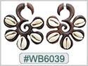 #WB6039 -  Wooden Tribal Earring - Shell THUMBNAIL