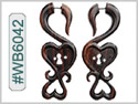 #WB6042 -  Narra Wood Tribal Earring - Key To My Heart THUMBNAIL