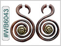 #WB6043 -  Narra Wood Tribal Earring - Double Spiral