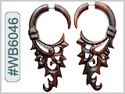 #WB6046 - Ornate Narra Wood Tribal Earring