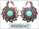 #WB6047 -  Wooden Tribal Earring Stone Inlay