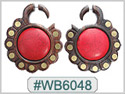 #WB6048 -  Wooden Tribal Earring Stone Inlay THUMBNAIL