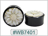 WB7401 Black Horn Plug with White Shell Flower