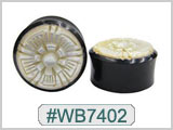 WB7402 Black Horn Plug with White Shell Flower