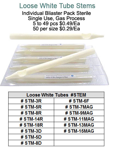 Loose White Tube Stems Only MAIN