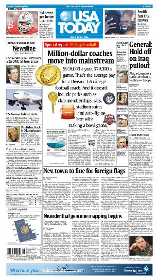 11/16/2006 Issue of USA TODAY MAIN