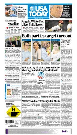 10/06/2008 Issue of USA TODAY MAIN