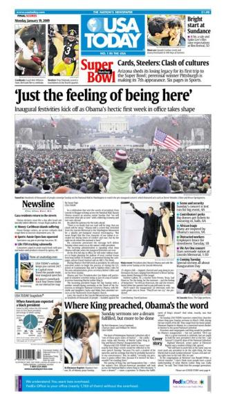 01/19/2009 Issue of USA TODAY MAIN