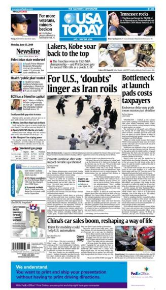 6/15/2009 Issue of USA TODAY MAIN