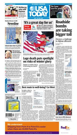 02/15/2010 Issue of USA TODAY MAIN