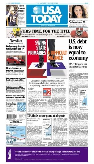 01/09/2012 Issue of USA TODAY MAIN