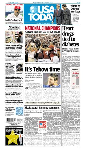01/10/2012 Issue of USA TODAY MAIN