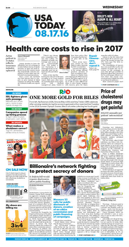 08/17/2016 Issue of USA TODAY – USA TODAY Online Store