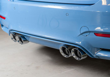 BMW F80 M3, SwitchPath™ Non-Resonated exhaust with 90mm Chrome Silver Tips, by AWE Tuning