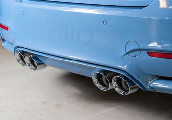 BMW F80 M3, SwitchPath™ Resonated exhaust with 102mm Diamond Black Tips, by AWE Tuning