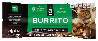 Alpha Foods Vegan Philly Sandwich Burrito
