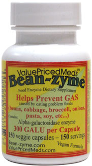 Bean-Zyme Anti-Gas Food Enzyme Supplement