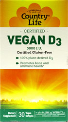 Vegan D3 Softgels by Country Life LARGE