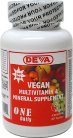 Iron-Free Vegan 1-A-Day Multi-Vitamin by DEVA