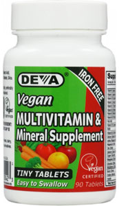 Iron-Free Tiny Tablets Vegan Multi-Vitamin and Mineral Supplement by DEVA LARGE