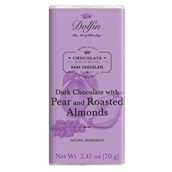Dolfin Pear and Roasted Almonds Dark Chocolate Bar THUMBNAIL