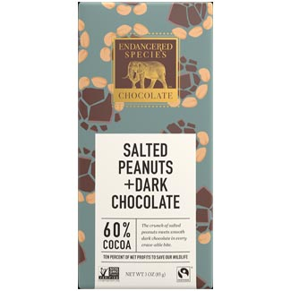 Salted Peanuts Dark Chocolate Bar by Endangered Species Chocolate MAIN