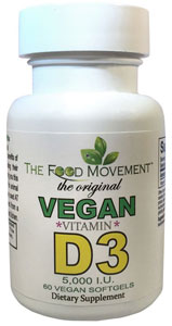 Vegan Vitamin D3 Capsules by The Food Movement LARGE