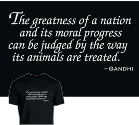 Gandhi Quote T-Shirt by Animal Rightstuff - Black