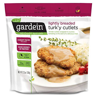 Gardein Lightly Breaded Turk'y Cutlets with Homestyle Gravy MAIN