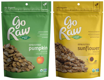 100% Organic Sprouted Sunflower or Pumpkin Seeds by Go Raw
