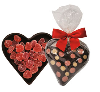 Polka Dot Organic Dark Chocolate Heart with Gummies by Sjaaks