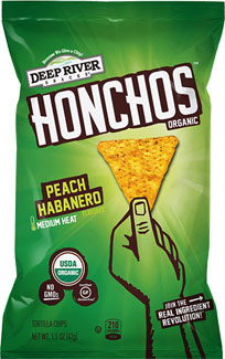 Honchos Peach Habanero Tortilla Chips by Deep River Snacks