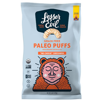 "Organic ""No Cheese"" Cheesiness Paleo Puffs by Lesser Evil MAIN"