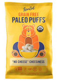 "Organic ""No Cheese"" Cheesiness Paleo Puffs by Lesser Evil"