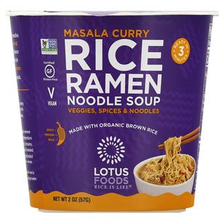 Masala Curry Rice Ramen Noodle Soup Cup by Lotus Foods MAIN