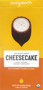 Loving Earth Organic Lemon Caramel Cheesecake Chocolate Cheescake Bar