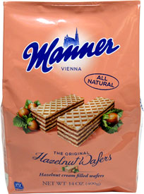 Bulk Bag of Hazelnut Cream Filled Wafers by Manner