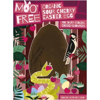 Organic Sour Cherry Premium Chocolate Easter Egg by Moo Free MAIN