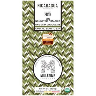 Organic Nougatine Pistachio 65% Dark Chocolate Bar by Millésime MAIN