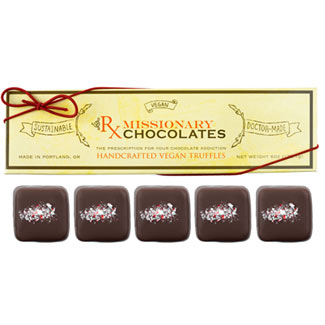Candy Cane Crunch Truffles by Missionary Chocolates - 5 pc. box MAIN