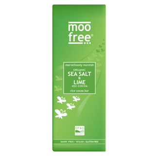 Moo Free Premium Organic Sea Salt & Lime Chocolate Bar MAIN