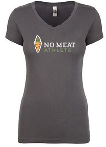 No Meat Athlete Carrot Logo Women's Super Soft V-Neck Tee - Grey