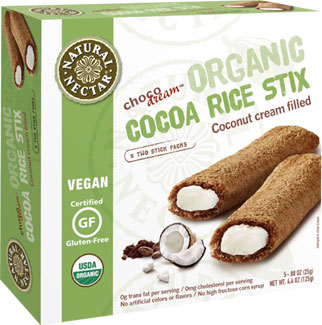 ChocoDream Organic Cocoa Rice Stix with Coconut Cream Filling by Natural Nectar LARGE