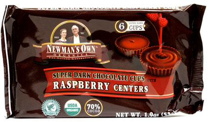 Super Dark Chocolate Cups with Raspberry Centers by Newman's Own Organics