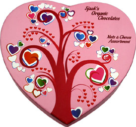 Limited Edition Valentine's Box Organic Chocolate Nuts & Chews Assortment by Sjaaks