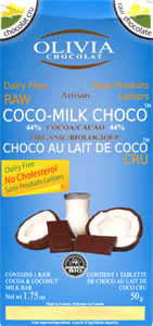 Organic Raw Coco-Milk Chocolate Bar by Olivia Chocolat