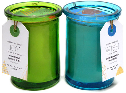 Holiday Scent Recycled Glass Coconut Wax Candle Jars by Pure Plant Home