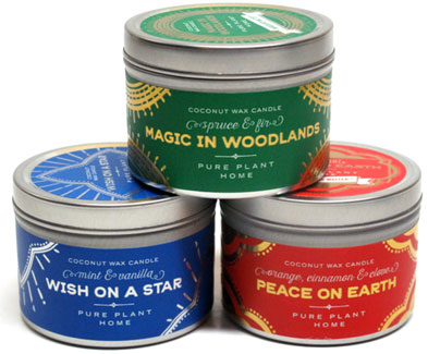 Holiday Scent Coconut Wax Candle Tins by Pure Plant Home