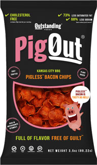 PigOut Pigless Bacon Chips by Outstanding Foods - Kansas City BBQ Flavor LARGE
