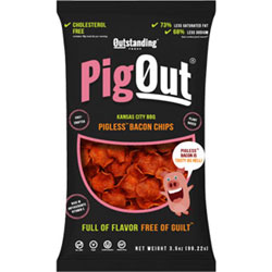 PigOut Pigless Bacon Chips by Outstanding Foods - Kansas City BBQ Flavor THUMBNAIL